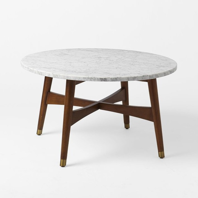 Reeve Midcentury Coffee Table, Marble/Walnut