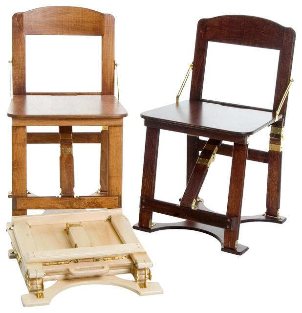 Spiderlegs CH01 LW Light Walnut Oak Color Wooden Folding Chair Contemporary