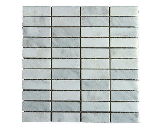 Stacked 1x3 Arabescato Carrara Marble Mosaic -