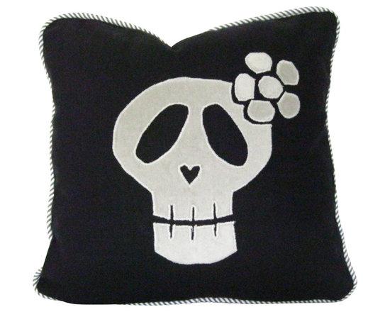 Therese Marie Designs - Sugar Skull Pillow - Sugar skull pillow. Black linen serves as the background for this hand cut gray skull appliqué in cotton velvet.  *For 16-inch square insert.
