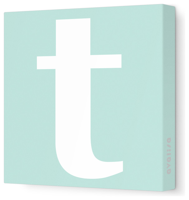 """Letter - Lower Case 't' Stretched Wall Art, 12"""" x 12"""", Sea Green modern-kids-decor"""
