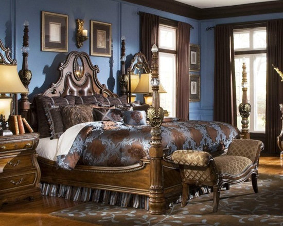AICO Furniture - The Sovereign 6 Piece Queen Poster Bedroom Set with Chest - 570 - Set Includes Queen Bed, Dresser, Mirror and Chest