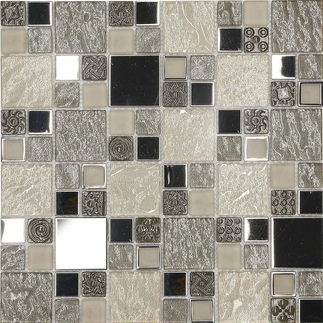 Houzz Kitchen Backsplash Tile: Beige Metal Textured Glass Mosaic Kitchen Backsplash Tile