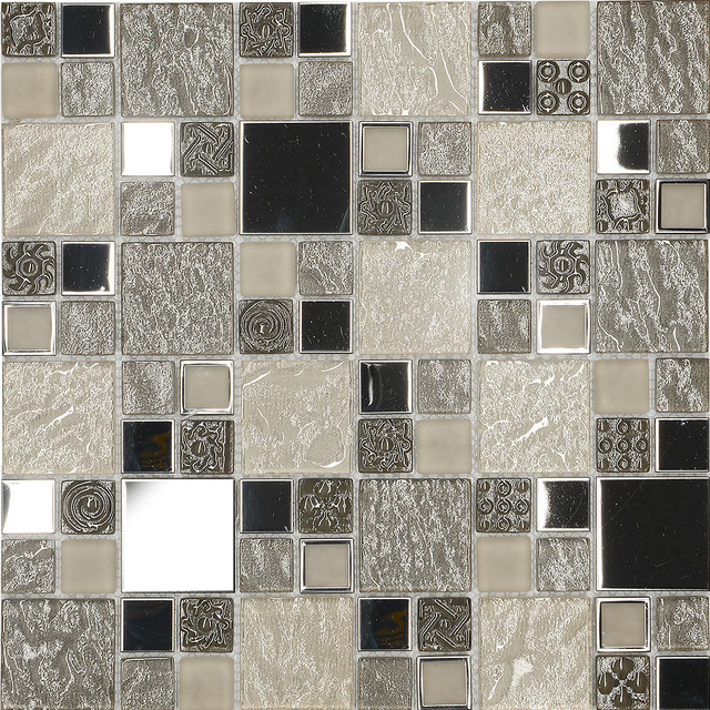 Beige metal textured glass mosaic kitchen backsplash tile 12 x 12 sheet contemporary - Modern bathroom tile designs and textures ...