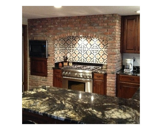 Kitchen Backsplash featuring our Fleur-de-Lis in Clover Handmade Cement Tile -