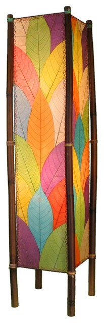 Asian Eangee Fortune Multicolor Cocoa Leaves Tower Floor Lamp asian-floor-lamps