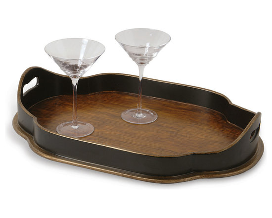 Port 68 - Austin Wooden Tray - Use the Austin Wooden Tray for entertaining or as a stylish decorative piece for your coffee table or kitchen island. This serving tray is hand-painted in a faux bamboo finish and features unique side paneling in black.