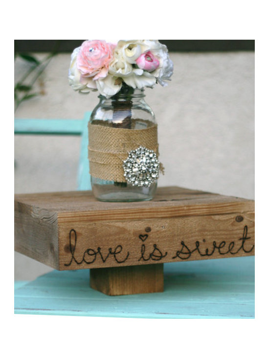 Wedding Cake Stand Wood Platform, 'Love is Sweet' -