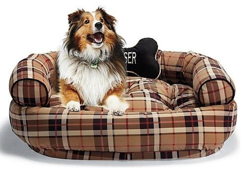 Designer Print Comfy Couch Pet Bed in Traditional Plaid ...