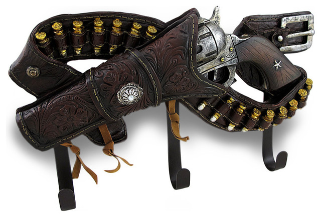 6 Shooter Pistol and Belt Western Style Decorative Wall Hook Hanging - Traditional - Wall Hooks ...
