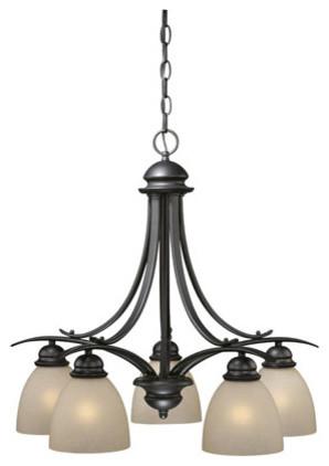 Avalon Oil Burnished Bronze Five-Light Chandelier modern-chandeliers