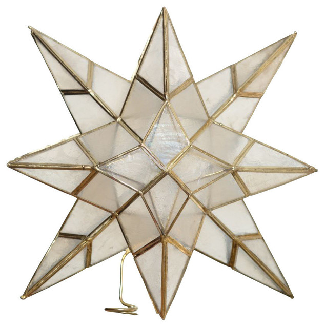 Star Tree Topper in Capiz Seashell traditional-holiday-decorations