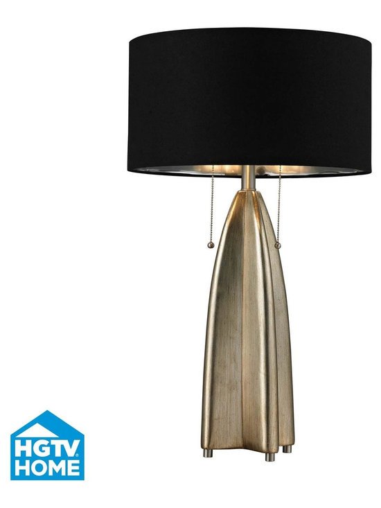 "Dimond HGTV 2-Light Table Lamp in Gold Leaf - Dimond Lighting Presents the HGTV Collection's Table Lamp has a Gold Leaf finish with Black Shade and double pull chains. This light features a Chain switch and a 60"" clear cord. Dimensions: 29"" High by 17"" Wide, with a 17"" surface extension. Shade Dimensions: 17"" High by 17"" Wide by 9"" High. Product Weight: 8.6 lbs."