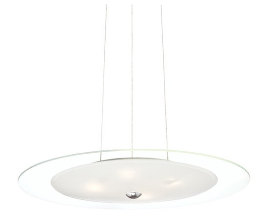 """Possini Euro Design - Possini Euro Evarts 19 3/4"""" Wide Chrome LED Pendant Light - Evarts contemporary pendant light. By Possini Euro Design. Chrome finish. Clear and white glass. Includes four 5 watt LEDs. Light output is 400 lumens. Comparable to a 40 watt incandescent bulb. 2700K color temperature. Includes adjustable cord for hanging. 19 3/4"""" wide. 2"""" high.  Evarts contemporary pendant light.  By Possini Euro Design.  Chrome finish.  Clear and white glass.  Dimmable using an electronic low voltage dimmer or an LED rated dimmer.  Includes four 5 watt LEDs.  Light output is 450 lumens per LED (1800 lumens overall).  Each LED comparable to a 40 watt incandescent bulb.  Overall light output comparable to a 125 watt incandescent.  2700K color temperature.  CRI is 80.  Includes adjustable cord for adjustable hang height up to 80"""".  19 3/4"""" wide.  2"""" high.  Canopy is 6 1/2"""" wide 3"""" high."""