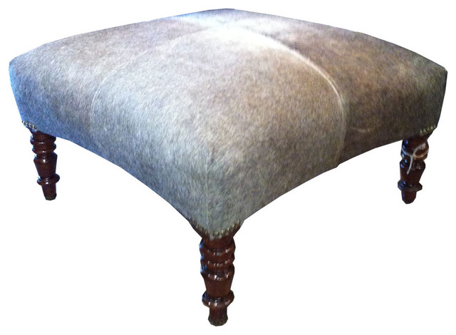 Cowhide Ottoman - Traditional - Footstools And Ottomans - by Bonny Neiman