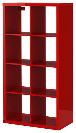 Kallax Shelving Unit, High Gloss Red - Contemporary - Bookcases - by IKEA
