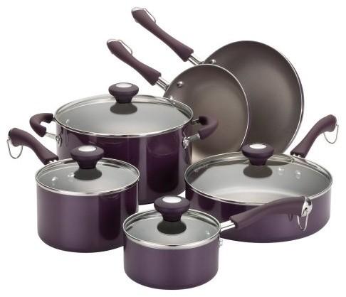 The Paula Deen 10539 Traditional Porcelain Nonstick 10 Piece Cookware Set makes contemporary-cookware-sets