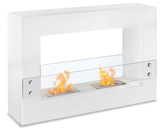 Moda Flame - Alcoi Contemporary  Indoor Outdoor Ethanol Fireplace - White - Designed with a sleek steel powder coated rectangular frame, the Alcoi free standing ethanol contemporary fireplace asserts a bold look with dual burner and tempered glass sheets on either side.  Burner: 2 x 1.5 Liter Dual Layer Burner made of 430 Stainless Steel Dimensions: 47.2W x 31.49H x 11.8D Inches / 120W x 80H x 30D cm Weight: 66.1 lbs / 30 kg