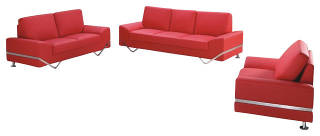 7240 Red Bonded Leather Three Piece Sofa Set modern-sofas