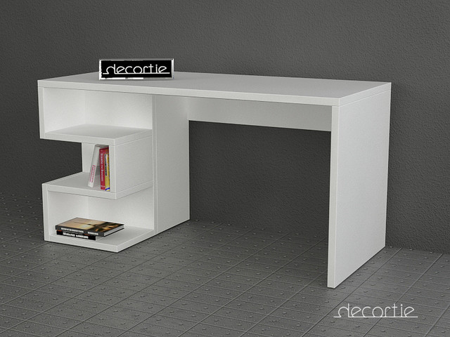 Aaron working desk white contemporain meuble bureau et for Meuble bureau contemporain