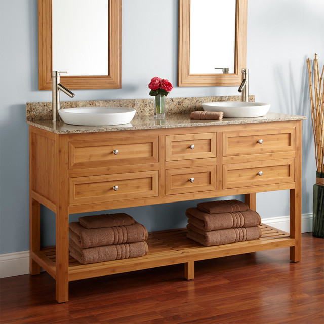 """60"""" Thayer Bamboo Double Vanity for Semi-Recessed Sinks contemporary-bathroom-vanities-and-sink-consoles"""
