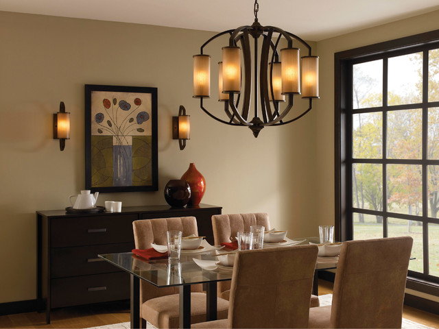 Murray feiss f2564 6pcn logan pecan 6 light chandelier - Dining room lighting ...