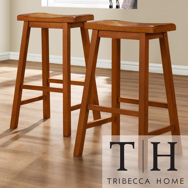TRIBECCA HOME Salvador Saddle Back 29-inch Oak Stools (Set of 2) contemporary-bar-stools-and-counter-stools