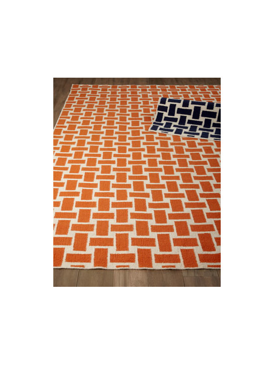 "Horchow - ""Manhattan"" Rug - A geometric pattern often found in paving stones or basket weaves rendered in fun colors makes this dhurry-style flatweave rug well suited for today's home. Handwoven of wool. Select color when ordering. Sizes are approximate. Imported. See our..."