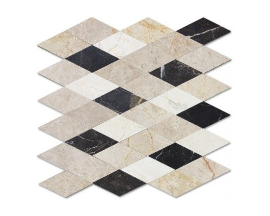 Corus stone mosaic - Corus stone mosaic Diamond shape in mix colors mesh mounted.