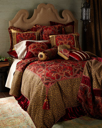 Dian Austin Couture Home Leopard European Sham with Ruched Velvet Border traditional-pillowcases-and-shams