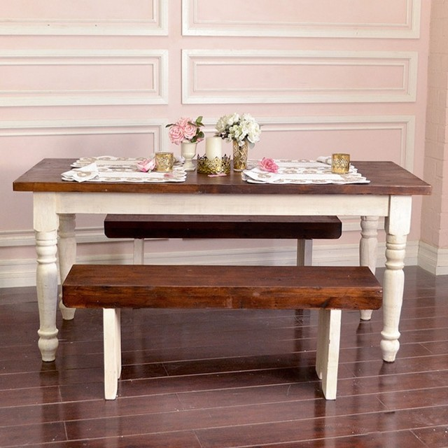 Bella French Farmhouse Petite Table in Antique White 68 inches mediterranean-dining-tables