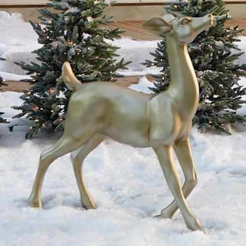 Metallic standing deer figure outdoor christmas for Outdoor deer christmas decorations