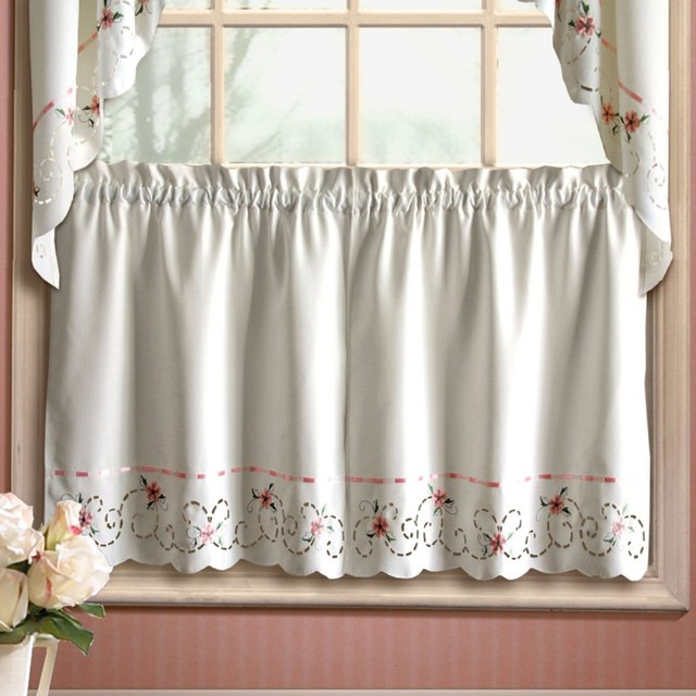 United curtain rachael kitchen tier modern curtains by hayneedle - Modern valances for kitchen ...
