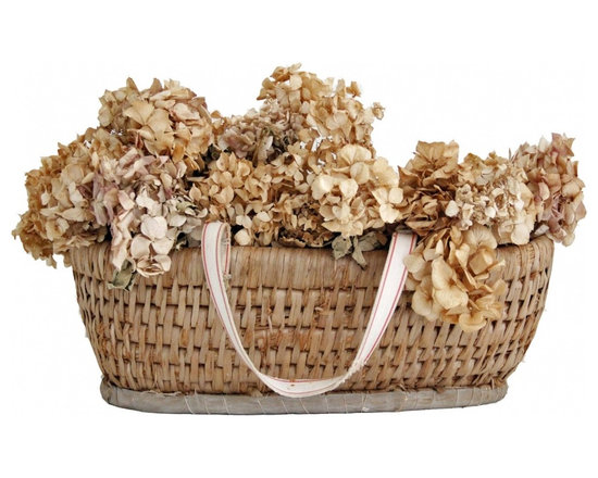 French Bread Basket - French Bread Basket W/Dried Hydrangeas