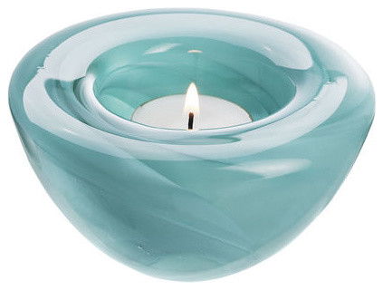 Kosta Boda Atoll Votive - Dark Turquoise contemporary-candleholders