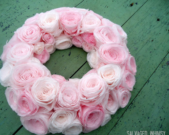 Shades of Pink Wreath - Handmade and dyed paper flower wreath in shades of pink