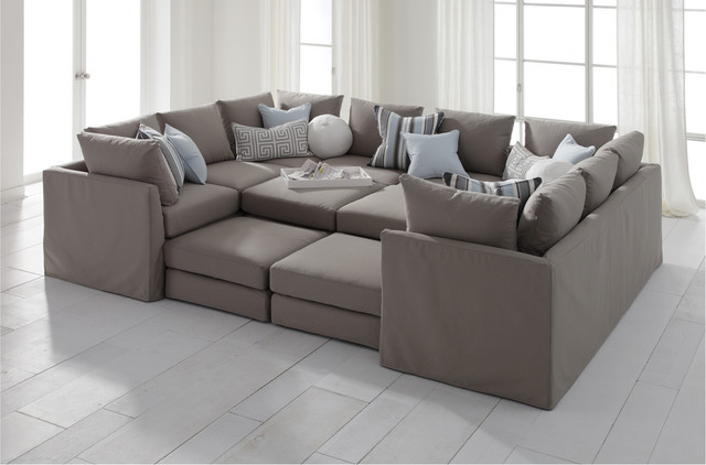 Dr Pitt Slipcovered Sectional Contemporary Sectional