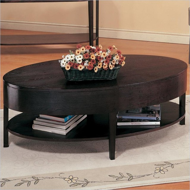 Coaster Gough Oval Coffee Table With Shelf Contemporary Coffee Tables