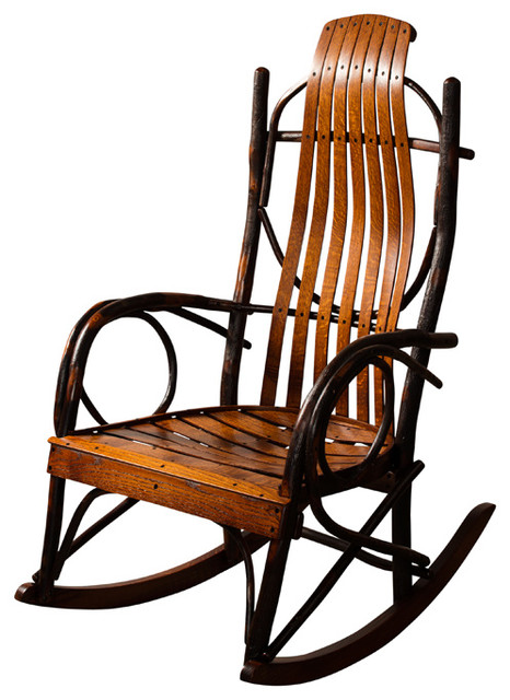 Amish made hickory rocker lightly stained without What are chairs made of