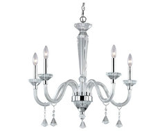 Crystal Chandelier with Glass Arms with Chrome Accents modern chandeliers