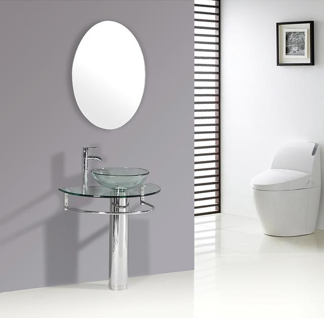 Kokols Clear Vessel Sink Pedestal Bathroom Vanity contemporary-bathroom-sinks