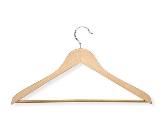 10-Pack Wood Suit Hanger- Maple - Honey-Can-Do HNG-01366 10-Pack Suit Hanger, Natural. Beautiful, wooden clothes hanger has a contoured design perfect for keeping shirts, dresses, and jackets wrinkle-free. Features a 360 degree swivel rod hook to hang items easily on any closet rod, towel bar, or standard size door. Non-slip, grooved pant bar holds fabrics perfectly in place. The smooth finished texture of the wood protects delicate fabrics from snags. A gorgeous upgrade for any closet space.