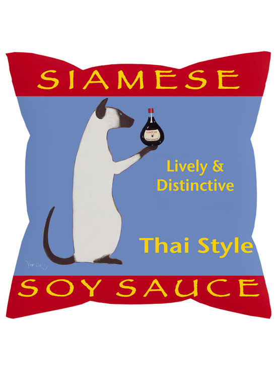 """Siamese Soy Sauce Pillow - Siamese Soy Sauce....... 18"""" x 18"""" pillow with concealed zipper and feather & down insert (95/5). 100% Eco friendly material printed with non toxic, non fading dyes. Front 100% polyester from recycled plastic bottles. Back 65% polyester from recycled plastic bottles; 35% organic cotton. Artwork by Ken Bailey and made in USA"""