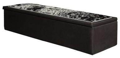Fireside Lodge Ridge Leather Storage Bench modern-benches