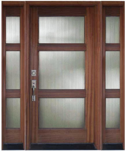 Wood and glass entry door with sidelights modern front for Glass for front door