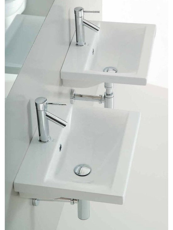 "Althea - Sleek Stylish Contemporary Wall Mounted or Self Rimming Bathroom Sink - Sleek and stylish rectangular bathroom sink made of high quality white ceramic. Contemporary washbasin can be installed and used as either a wall mounted or self rimming sink. Includes overflow and a single faucet hole. Designed and manufactured in Italy by Althea. Sink dimensions: 19.70"" (width), 7.10"" (height), 15.40"" (depth)"