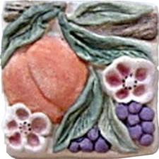 Hand Painted Ceramic Tile Gourmet Garden Peach
