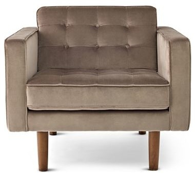Happy Chic by Jonathan Adler Crescent Heights Tufted Chair, Mushroom modern-armchairs-and-accent-chairs