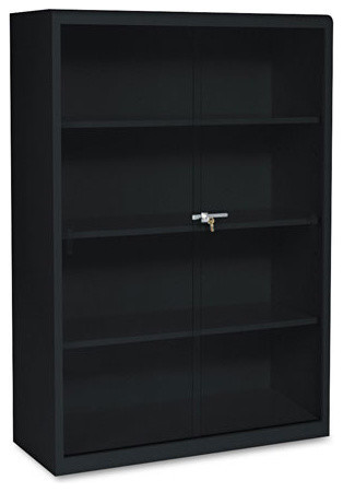 Tennsco Executive Steel Bookcase with Glass Doors, Four-Shelf, Black - Contemporary - Bookcases ...