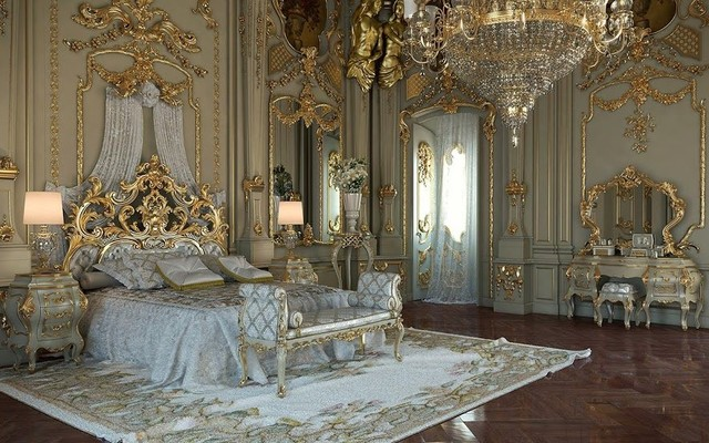 Royal Style Golden Italian Classic Bedroom Transitional